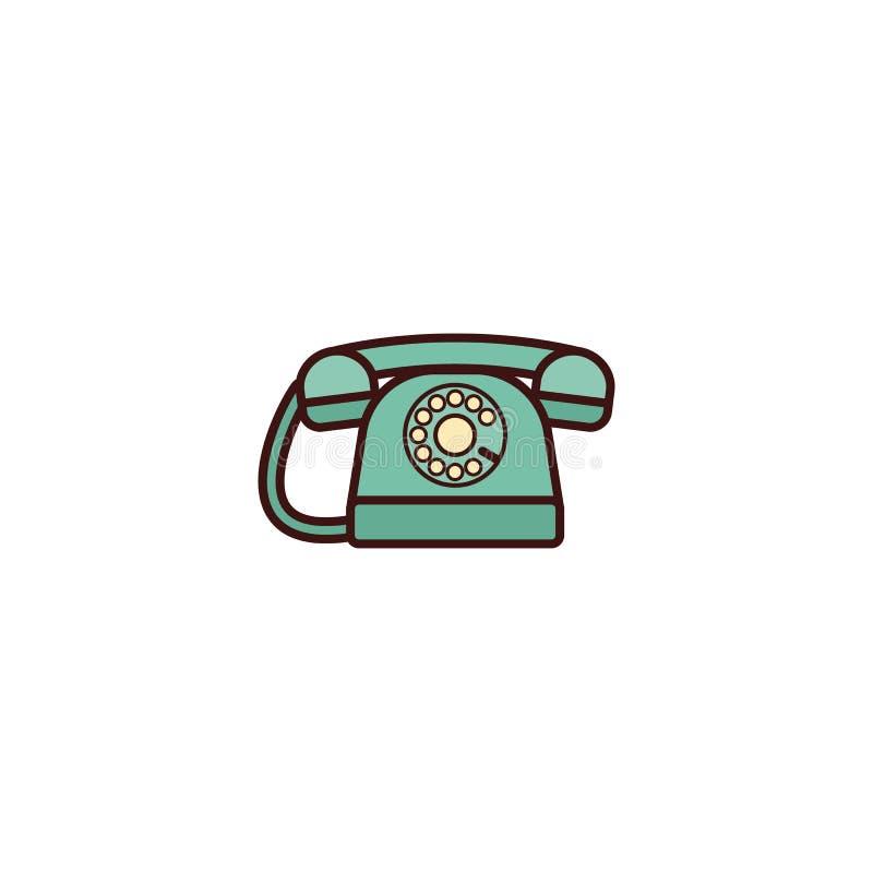 Telefonsymbol i plan retro design också vektor för coreldrawillustration retro stock illustrationer