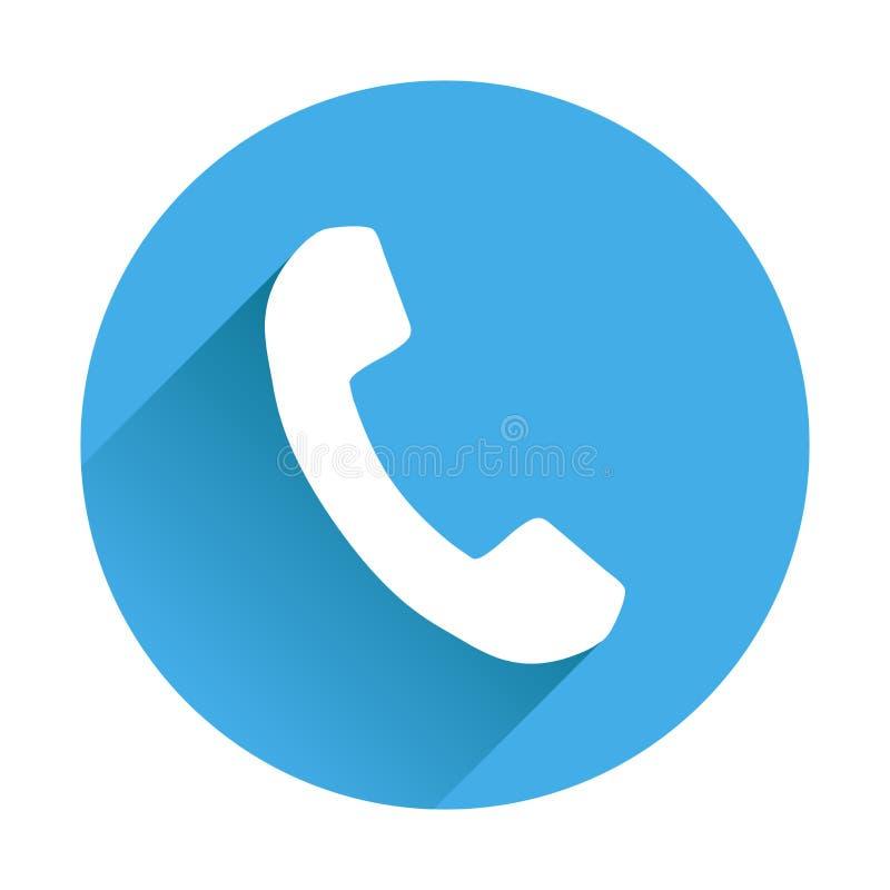 Telefonsymbol i plan stil Vektorillustration på rundablått tillbaka royaltyfri illustrationer