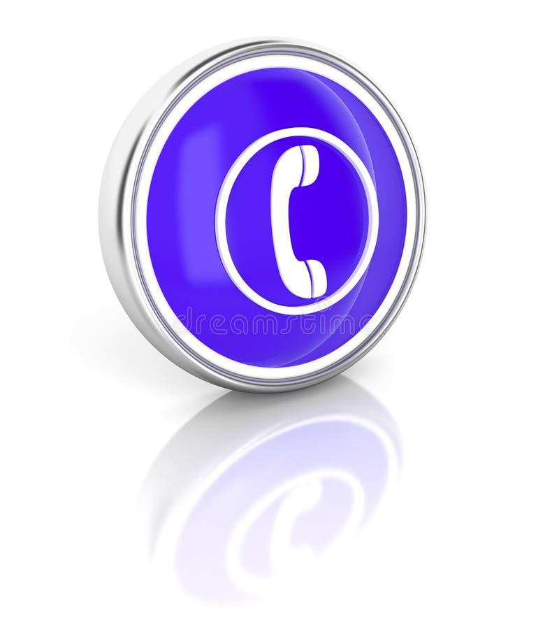 Telefonsymbol på den glansiga blåa runda knappen stock illustrationer