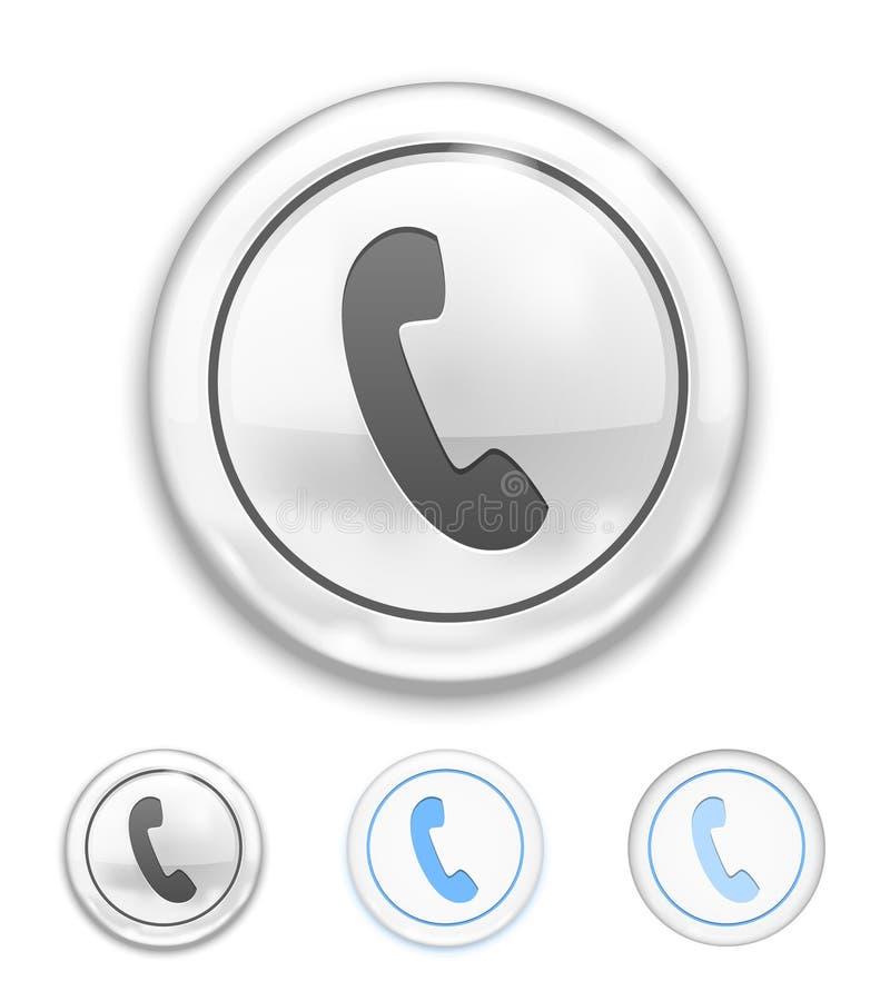 Telefonsymbol på knappen stock illustrationer