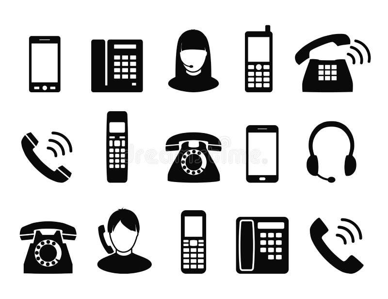 Telefonsymbol symboler i en stil av den plana designen royaltyfria bilder