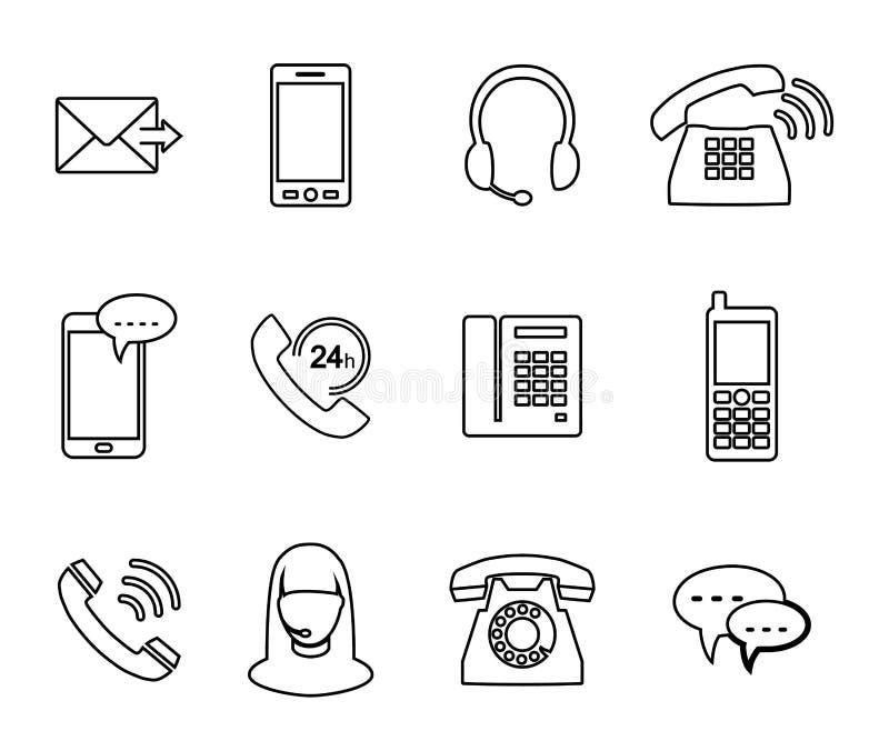 Telefonsymbol Uppsättning av symboler i stilen av den linjära designen royaltyfri illustrationer