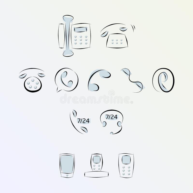 Telefonsymboler royaltyfri illustrationer