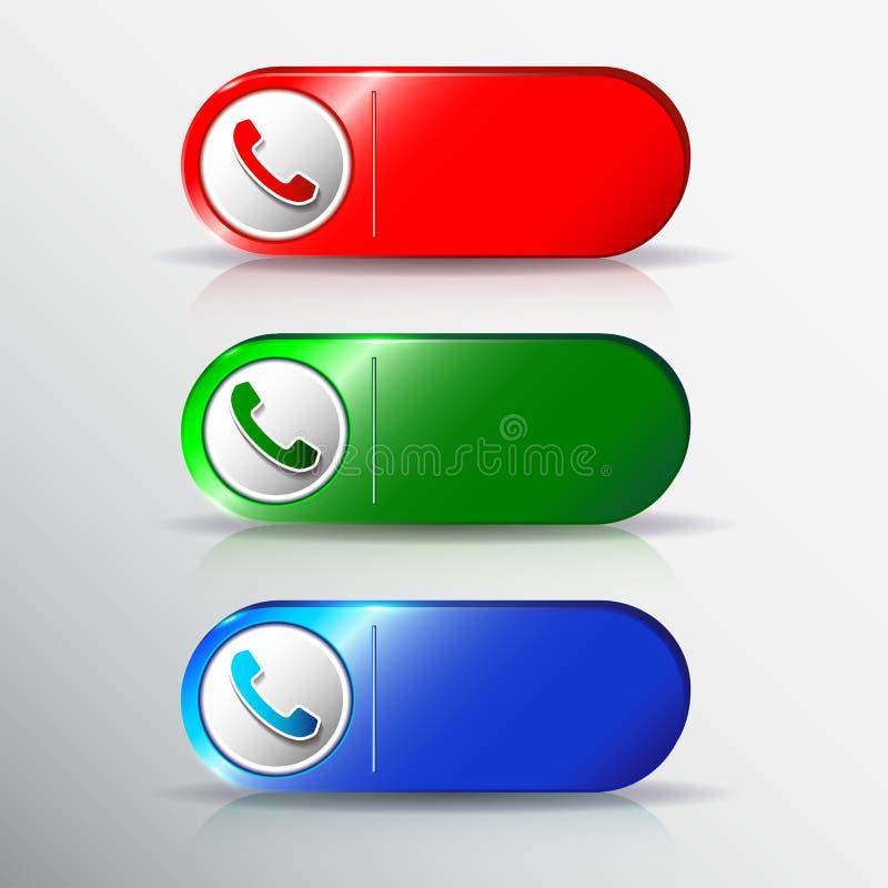 Telefonsymboler ställde in i anförandebubbla och knapp royaltyfri illustrationer