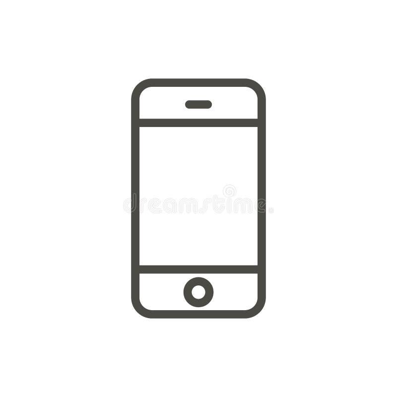 Telefonsymbolsvektor Linje smartphonesymbol royaltyfri illustrationer