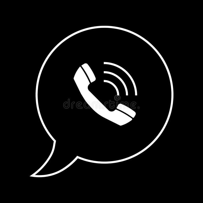 Telefonsymbolsvektor, logosymbol Telefonpictogram, plant vektortecken som isoleras på svart bakgrund Vektorillustration för vektor illustrationer