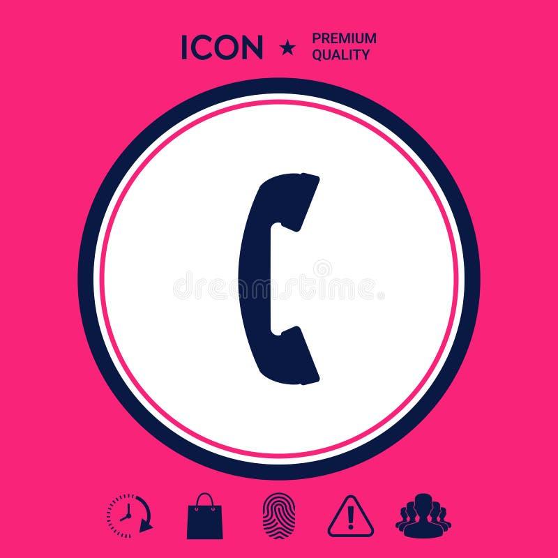 Telefontelefonlur, symbol för telefonmottagare royaltyfri illustrationer