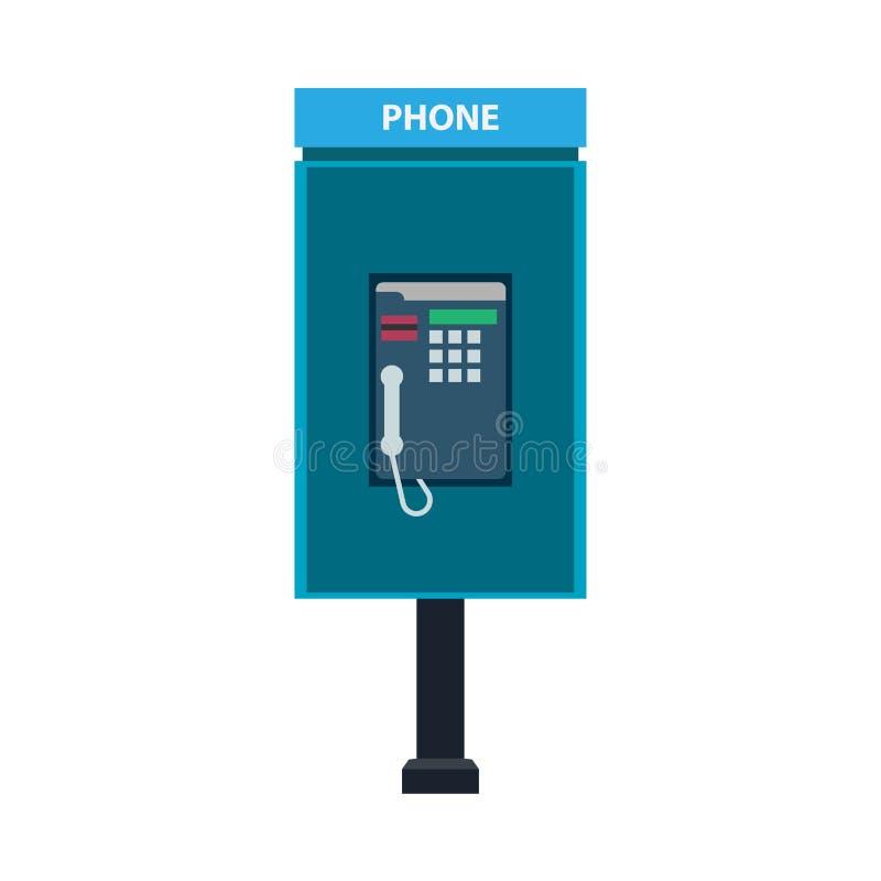 Telefonu budka wywoławczego znaka technologii wektoru ikona Nowożytnego błękitnego pojęcia miasta telekomunikacyjny płaski plener ilustracji