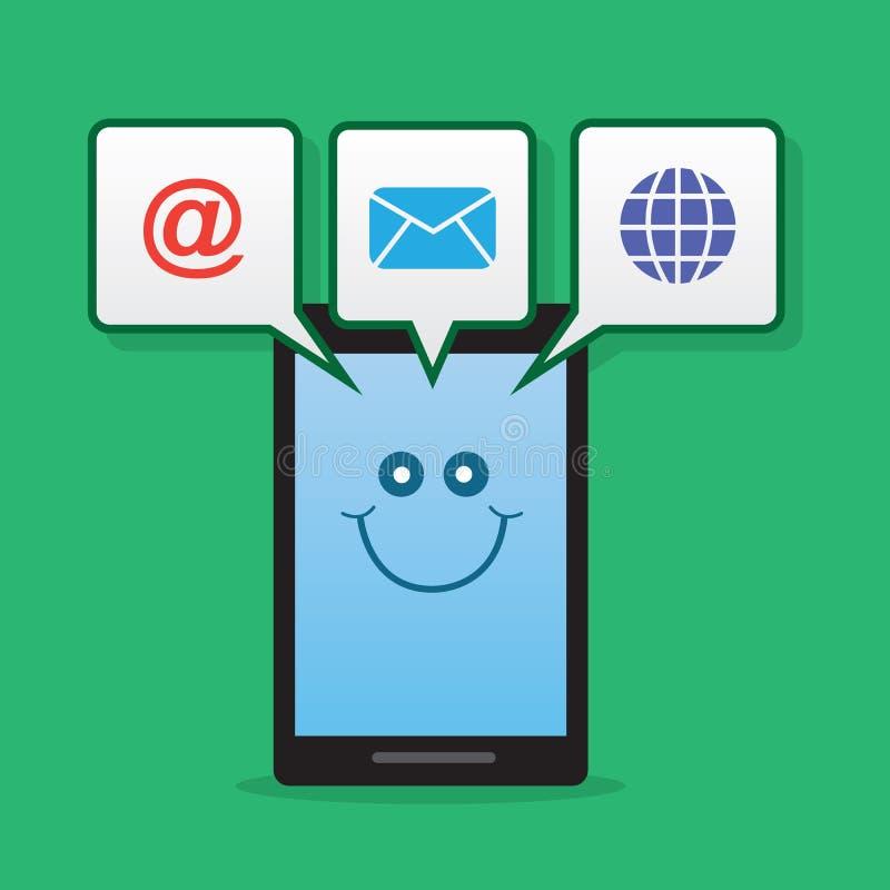 Telefonu charakteru powiadomienia ilustracja wektor