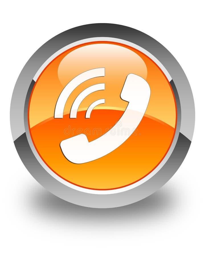 Telefonu dzwonienia ikony glansowany pomarańczowy round guzik ilustracji