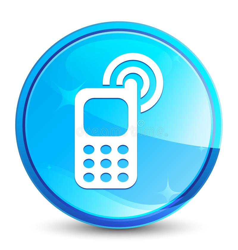 Telefonu komórkowego dzwonienia ikony pluśnięcia round naturalny błękitny guzik royalty ilustracja