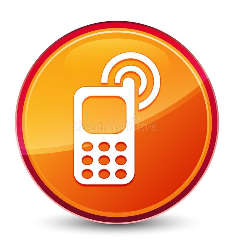 Telefonu komórkowego dzwonienia ikony round specjalny szklisty pomarańczowy guzik ilustracji