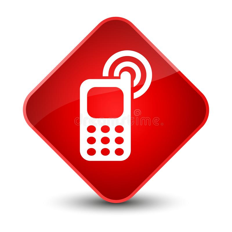 Telefonu komórkowego dzwonienia ikony elegancki czerwony diamentowy guzik royalty ilustracja