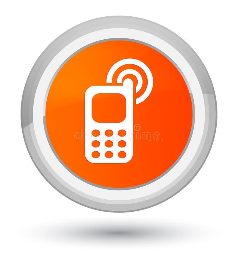 Telefonu komórkowego dzwonienia ikony pierwszorzędny pomarańczowy round guzik ilustracja wektor