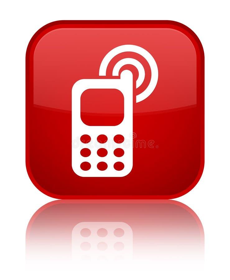 Telefonu komórkowego dzwonienia ikony placu czerwonego specjalny guzik ilustracji