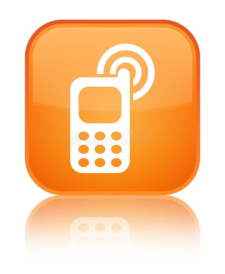 Telefonu komórkowego dzwonienia ikony pomarańcze kwadrata specjalny guzik ilustracji