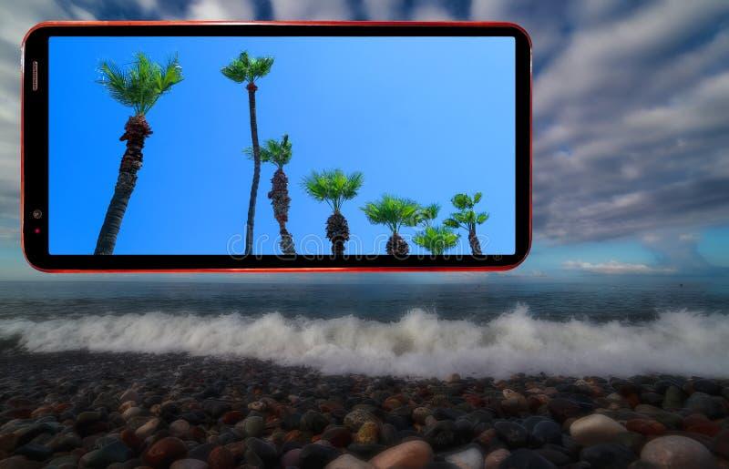 Telefonu komórkowego ekran wystawia pogodnych drzewka palmowe dalej ciemni aura tajemniczości zamazującego tło falista morze plaż fotografia royalty free