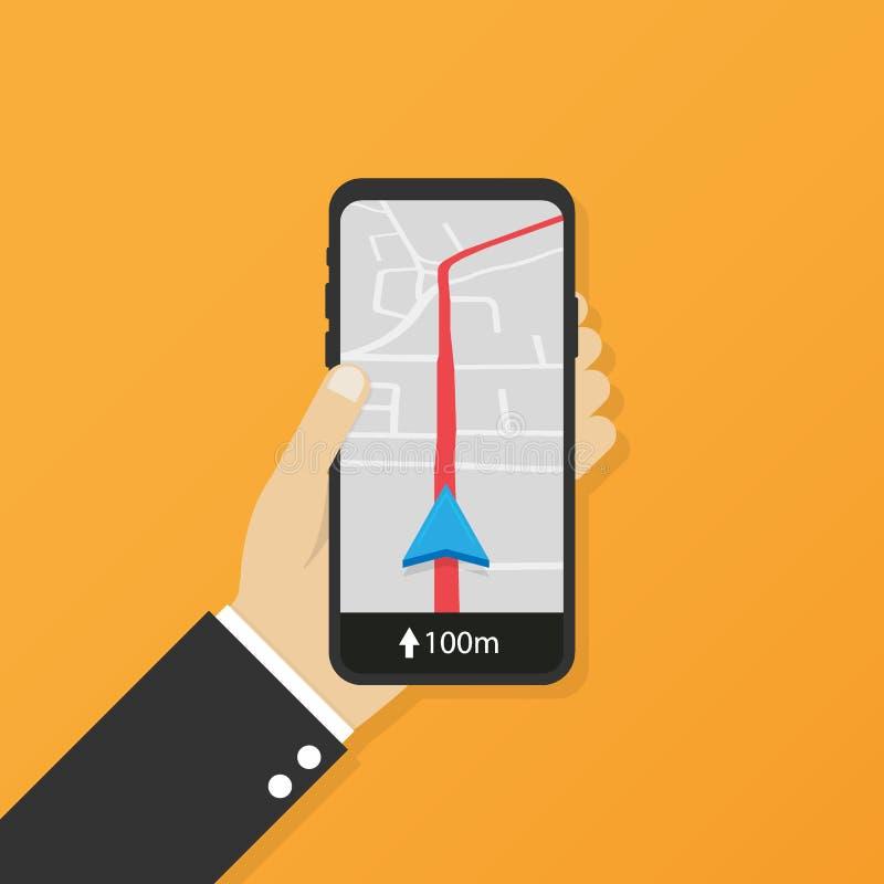 Telefonu komórkowego geo lokacja, smartphone gps nawigatora miasta mapa i szpilka drogowy pointer, mapa samochodowa kierunek równ ilustracji
