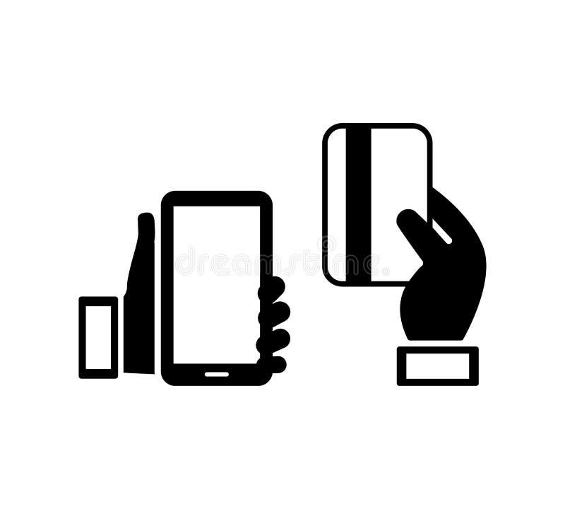 Telefonu komórkowego i kredytowej karty ikony ilustracja wektor