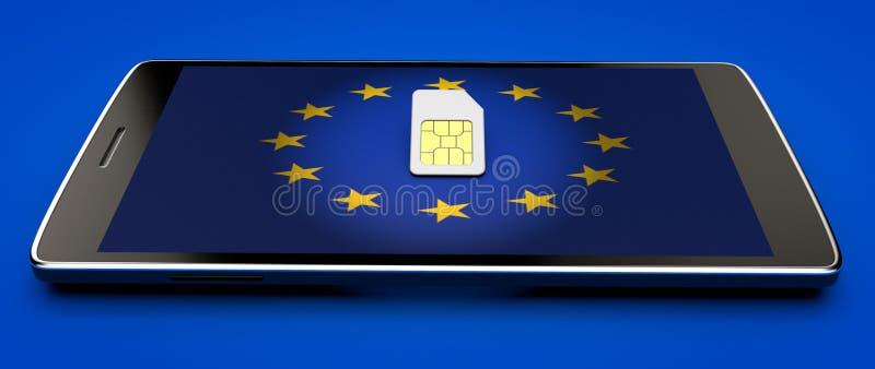 Telefonu Komórkowego i sim karta, abolicja wędrować w Europejskim zjednoczeniu dostępne Europę flagi okulary stylu wektora zdjęcie royalty free