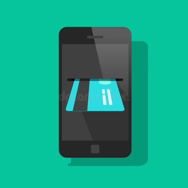 Telefonu komórkowego lub smartphone zapłata kredytowej karty wektoru ilustracją royalty ilustracja