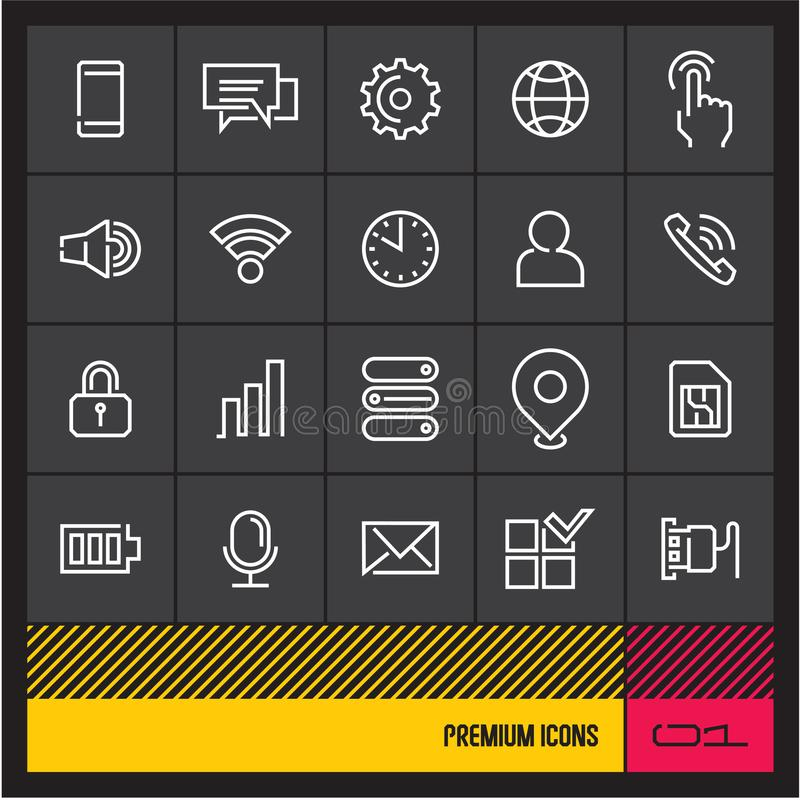 Telefonu komórkowego menu cienkie kreskowe wektorowe ikony Sieci ikony ustawiać na czerni ilustracja wektor