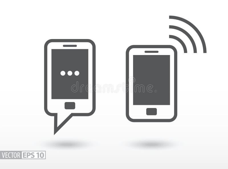 Telefonu komórkowego mieszkania ikona Szyldowy smartphone kuli ziemskiej loga wektoru sieć ilustracji