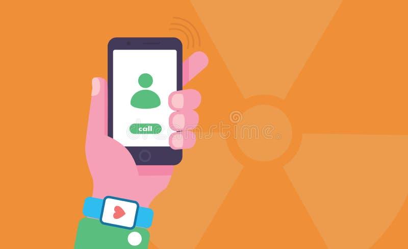 Telefonu komórkowego napromieniania konceptualna ilustracja Ręka trzyma telefon komórkowego z napromienianie znakiem na tle ilustracja wektor