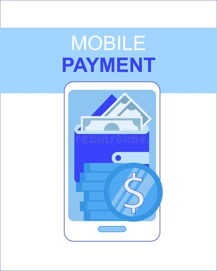 Telefonu Komórkowego Płatniczy App z pieniądze portfla ekranem ilustracji