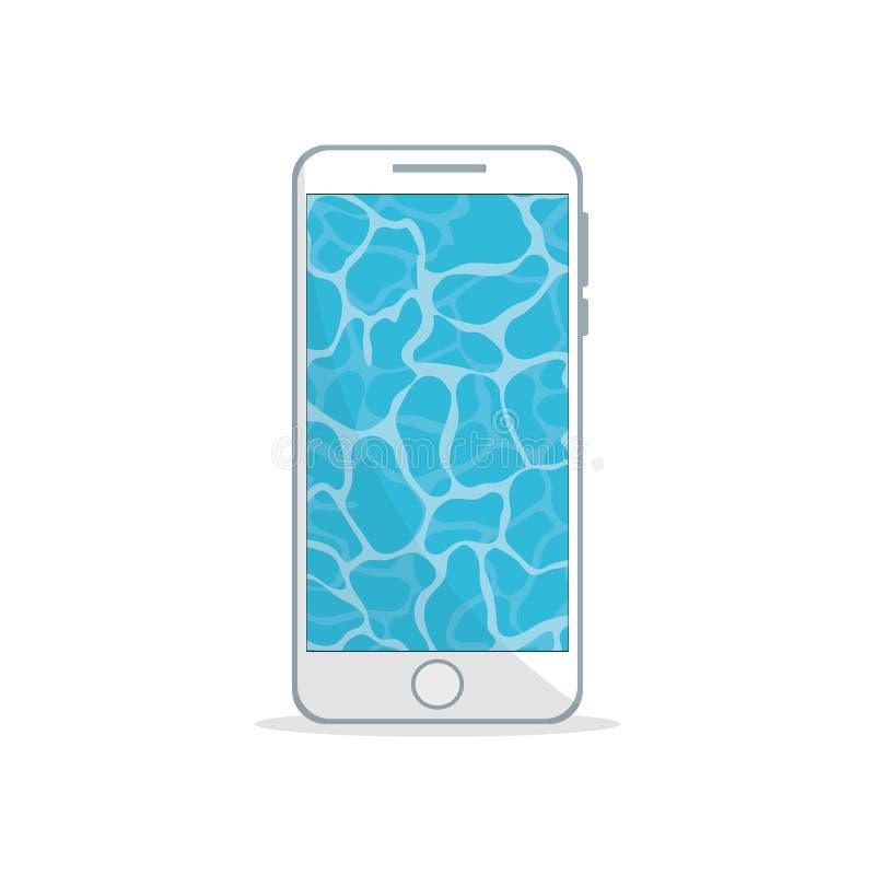 Telefonu komórkowego projekt z przejrzystą lato wody tapetą ilustracji