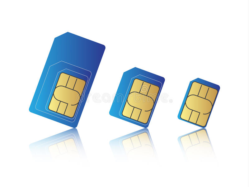 Telefonu komórkowego sim karty setu, standardu, mikro i nano sim karta, ilustracja wektor