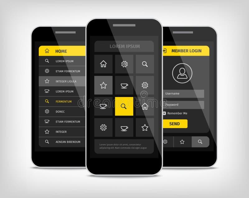 telefonu komórkowego ui koloru żółtego guziki ilustracji