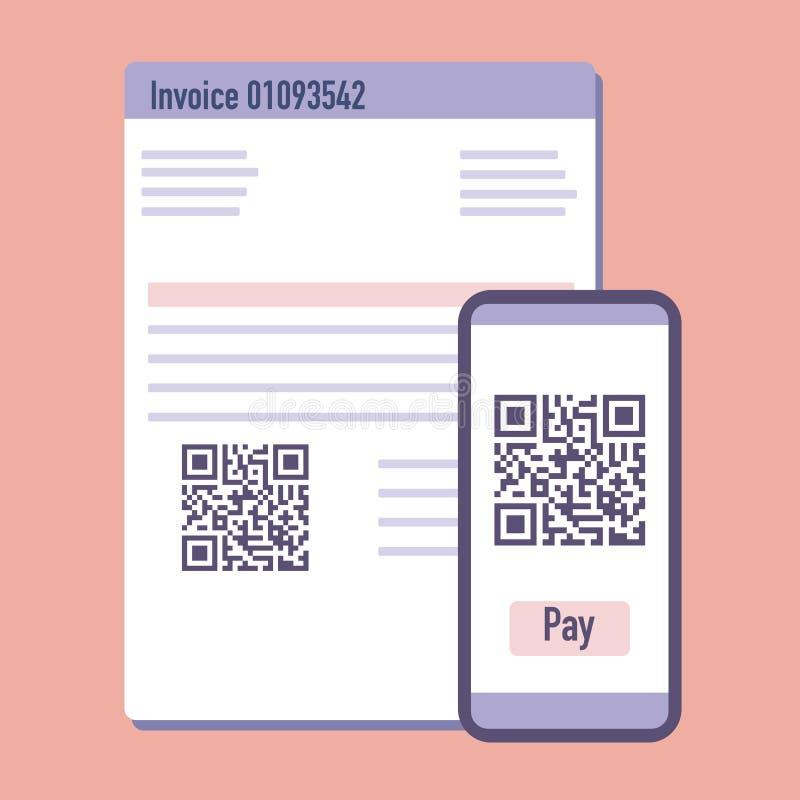 Telefonu obrazu cyfrowego qr kod dla zapłaty faktury wektor royalty ilustracja