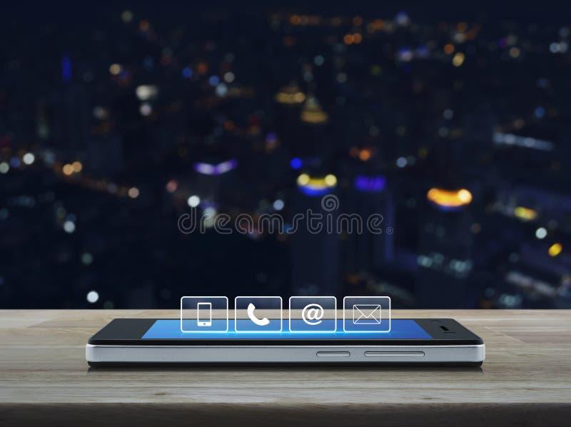 Telefonu, telefonu komórkowego i emaila guziki na nowożytnym mądrze ph, przy obraz stock