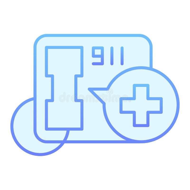 Telefonu w sprawie nagłego wypadku mieszkania ikona 911 poparcie błękitna ikona w modnym mieszkanie stylu Rozmowa telefonicza gra ilustracji