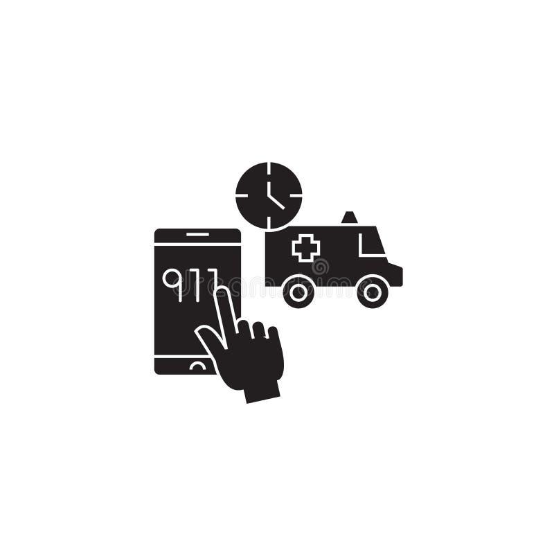 Telefonu w sprawie nagłego wypadku pojęcia czarna wektorowa ikona Telefon w sprawie nagłego wypadku płaska ilustracja, znak ilustracja wektor