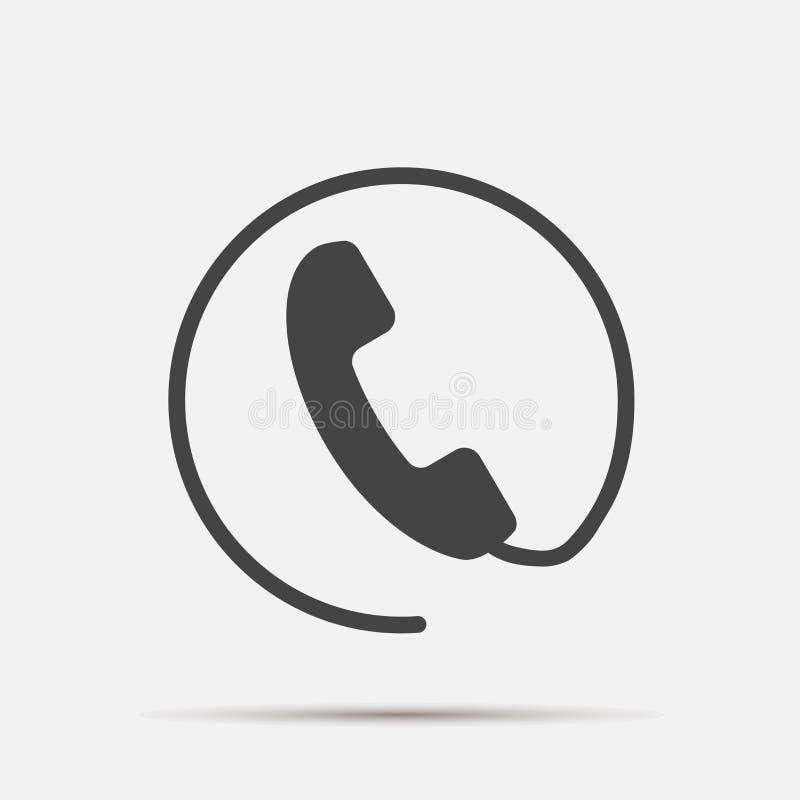 Telefonvektorikone auf flacher Art Hörer mit Schatten Einfache redigierende Illustration lizenzfreie abbildung