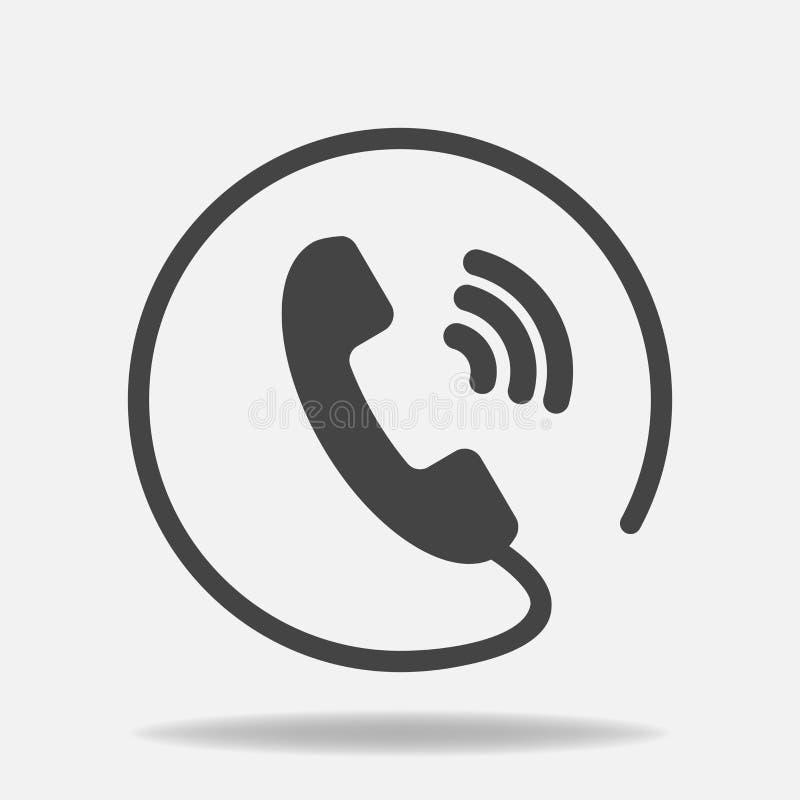 Telefonvektorsymbol på plan stil Telefonlur med skugga Lätt editi royaltyfri illustrationer