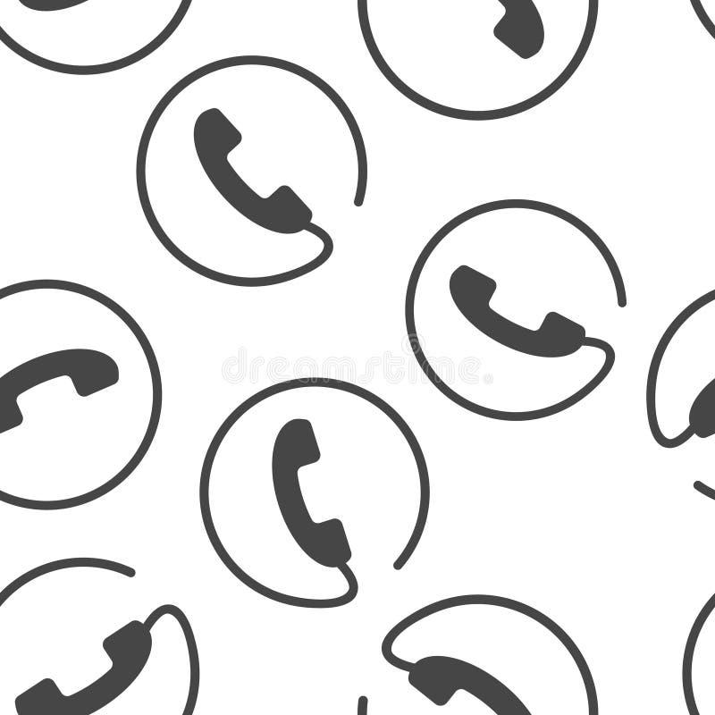 Telefonvektorsymbol p? plan stil Isolerad sömlös modell för telefonlur på en vit bakgrund stock illustrationer