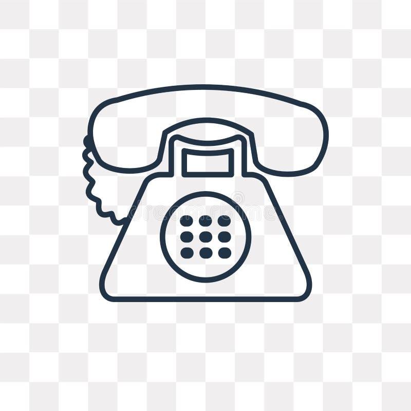 Telefonvektorsymbol som isoleras på genomskinlig bakgrund som är linjär royaltyfri illustrationer