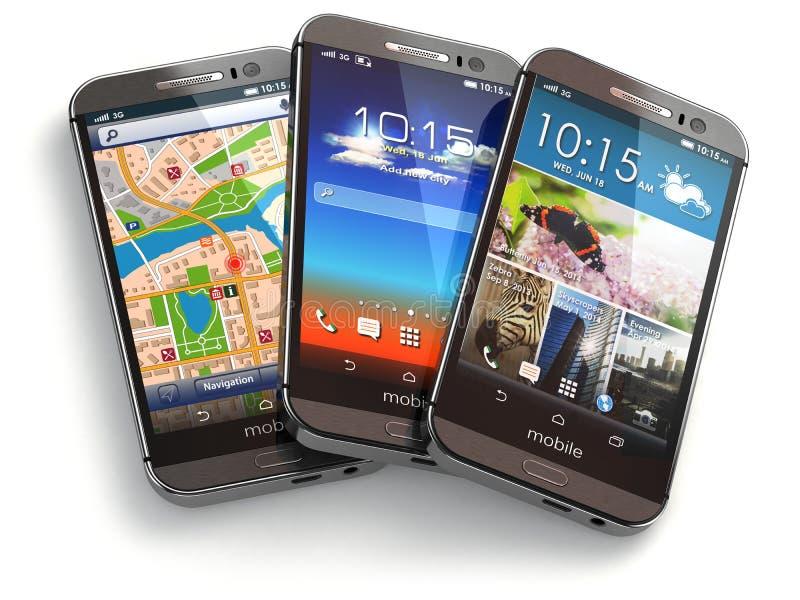 Telefony komórkowi na białym tle ilustracja wektor