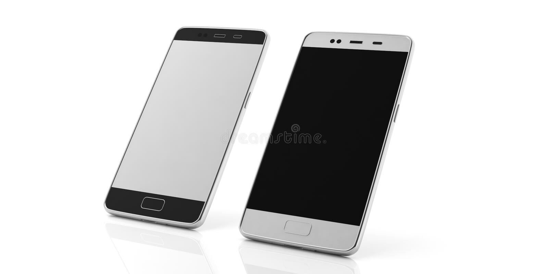 Telefony komórkowi z pustymi białymi i czarnymi ekranami odizolowywającymi na białym tle, kopii przestrzeń ilustracja 3 d ilustracja wektor