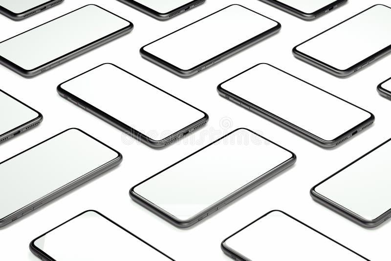 Telefony komórkowi z pustymi ekranami na białym tle świadczenia 3 d ilustracja wektor