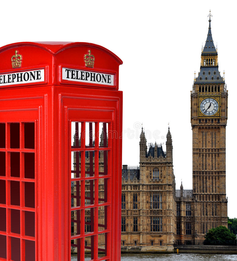 Telefonzelle und Big Ben lizenzfreie stockbilder