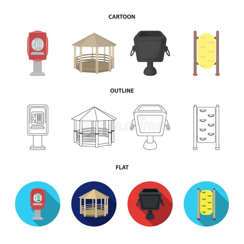Telefoon automatisch, gazebo, vuilnisbak, muur voor kinderen Pictogrammen van de park de vastgestelde inzameling in beeldverhaal, vector illustratie