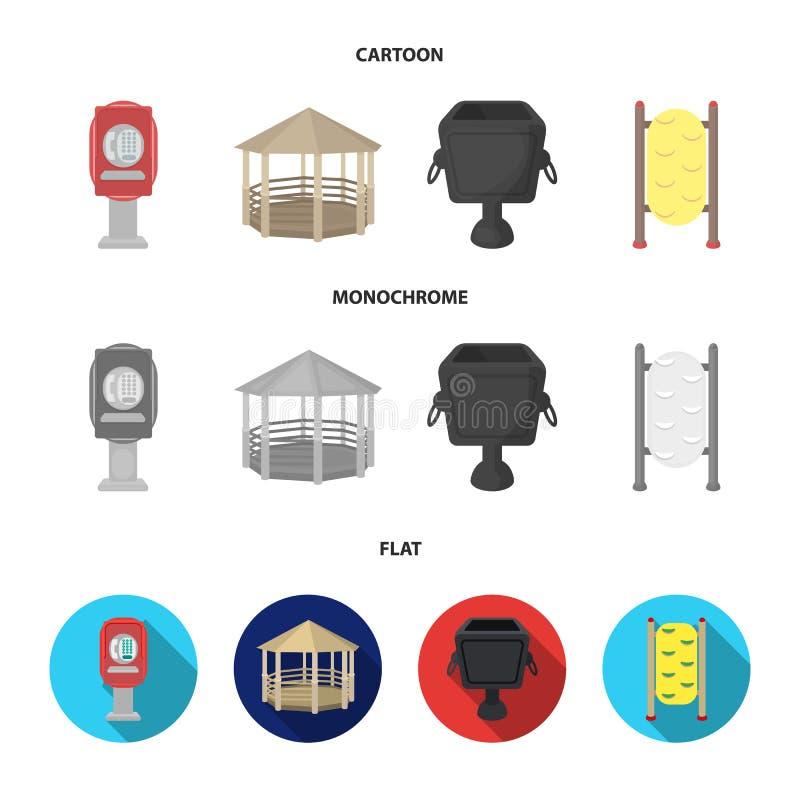 Telefoon automatisch, gazebo, vuilnisbak, muur voor kinderen Pictogrammen van de park de vastgestelde inzameling in beeldverhaal, stock illustratie