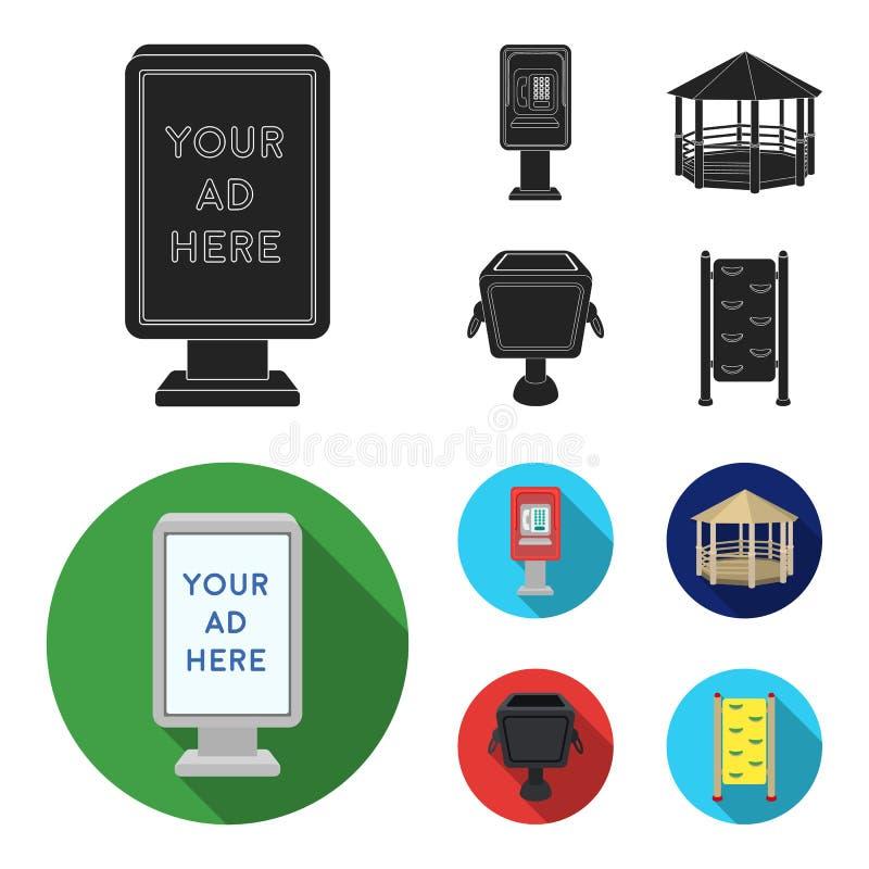 Telefoon automatisch, gazebo, vuilnisbak, muur voor kinderen Pictogrammen van de park de vastgestelde inzameling in zwart, vlak s royalty-vrije illustratie