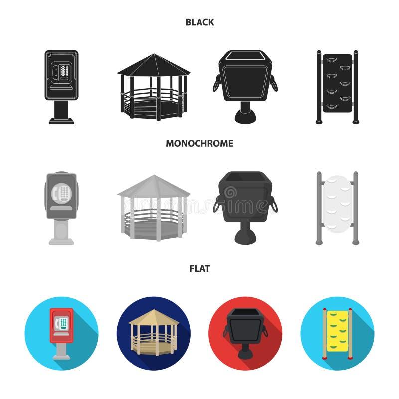 Telefoon automatisch, gazebo, vuilnisbak, muur voor kinderen Pictogrammen van de park de vastgestelde inzameling in zwarte, vlakk royalty-vrije illustratie