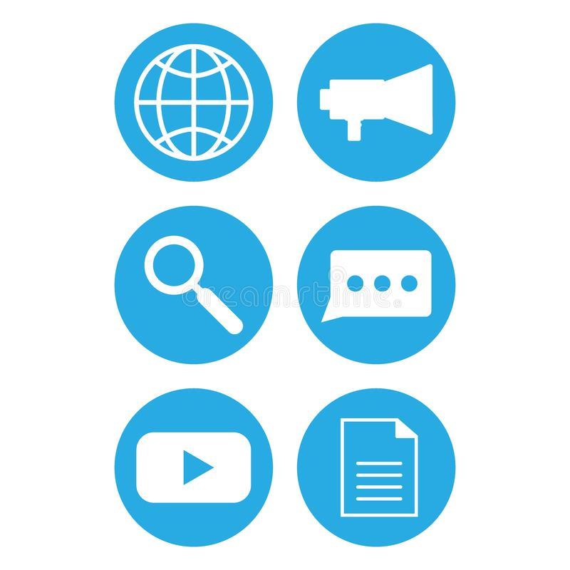 Telefoon communicatie pictogrammen Het pictogram van het Web stock illustratie