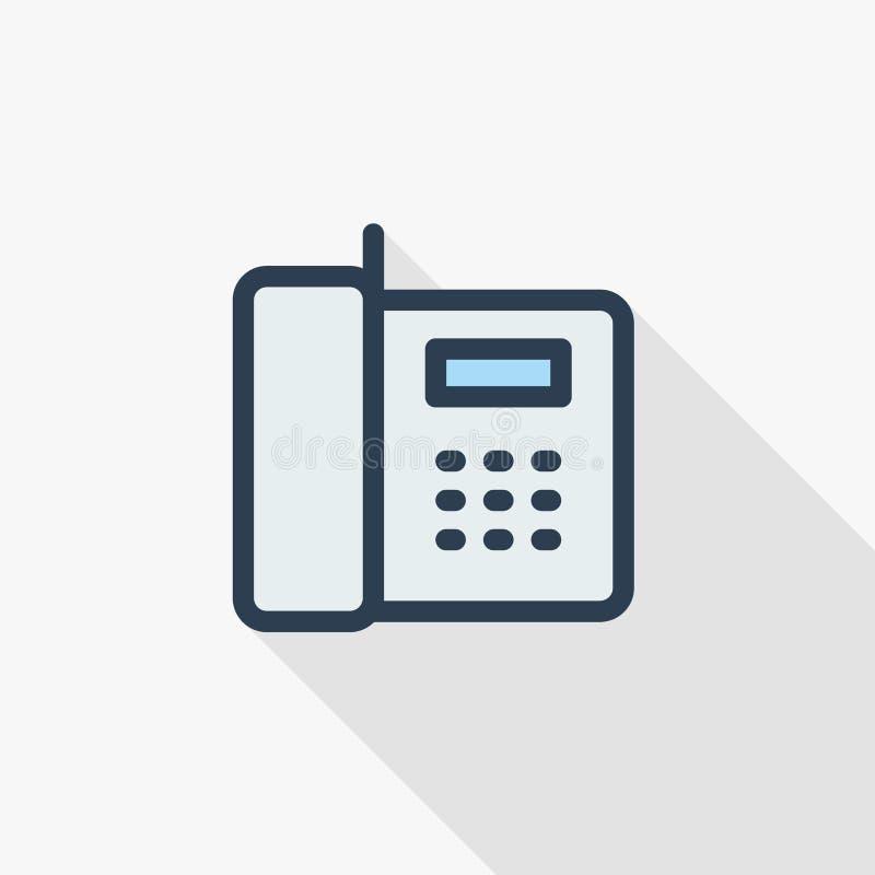 Telefoon, de dunne lijn van de bureautelefoon vlak pictogram Het lineaire vectorontwerp van de symbool kleurrijke lange schaduw royalty-vrije illustratie